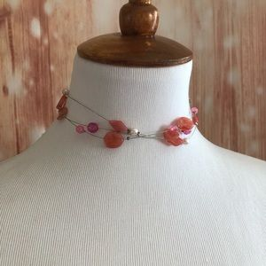 Handmade Pink Coral Bead Wire Necklace